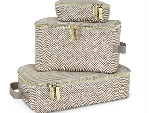 Packing Cubes - Taupe Herringbone