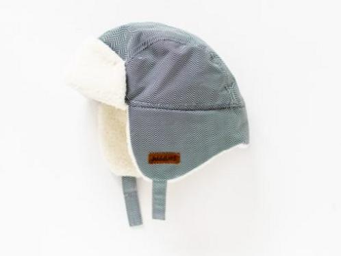 Juddlies Winter Bomber Hat - Herringbone Grey