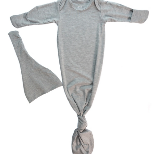 Newborn Knotted Gown Set | Gray