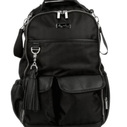 Black Herringbone Boss Backpack | Diaper Bag