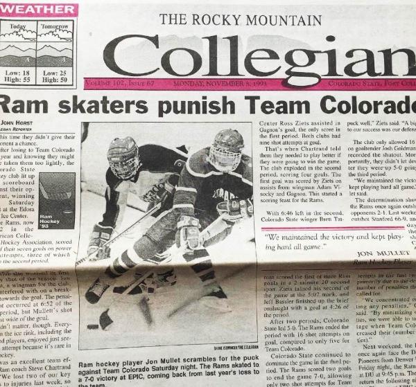 CSU Men's hockey team article in the Rocky Mountain Collegian 1994.