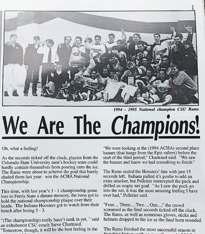 CSU Men's Hockey National Championship Team article in the Rocky Mountain Collegian 1995