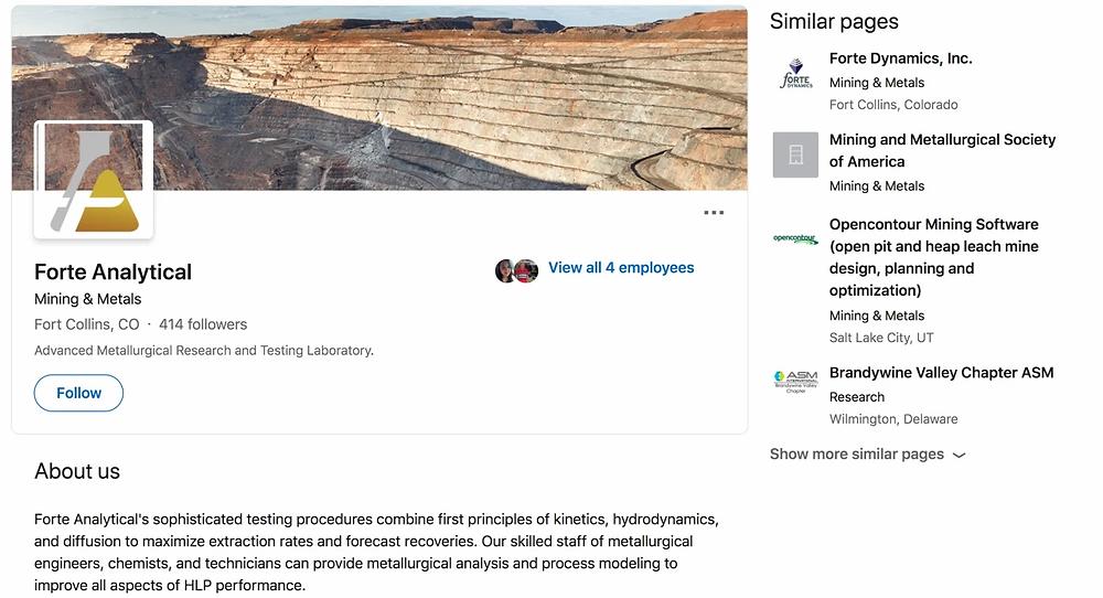 Metallurgical Lab Business Page on LinkedIn Social Media