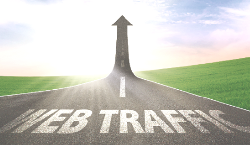 A road turning into an arrow rising upward symbolizing growth and improvement of web traff