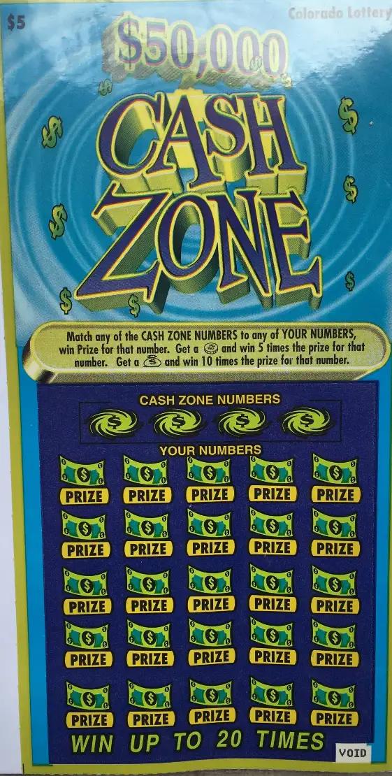 Cash zone ticket design Colorado Lottery