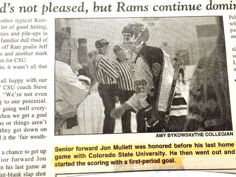 Jon Mullett CSU Men's hockey article in the CSU Collegian.