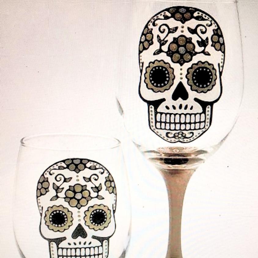 Cinco de Mayo Sugar Skull wine glass painting with Loretta Meyer Furrey