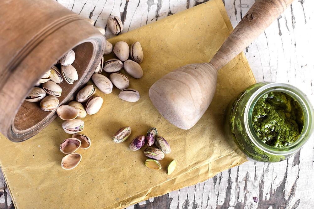 Crème de pistache à la courgette et à l'estragon