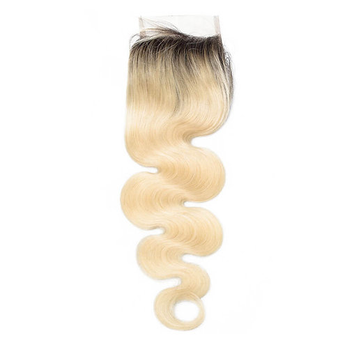 Mad Blonde Dark Rooted Lace Closure Body Wave
