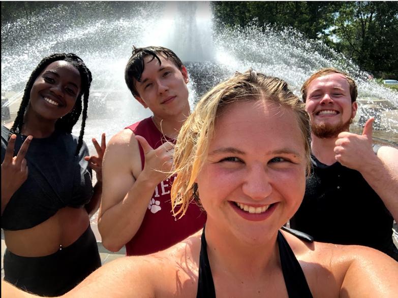 Mia, Reece, Garrett, and Mae after finishing our fountain run