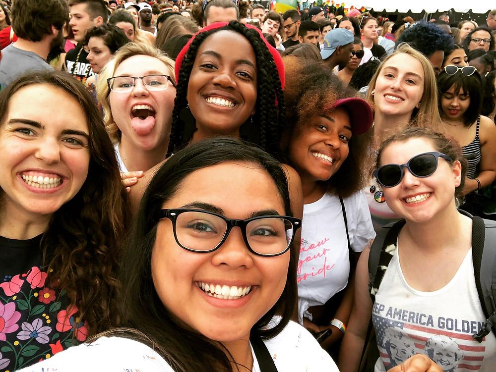 Alyssa, Jenny, Mae, Mia, Megan, Taylor and Avery at Pride Festival