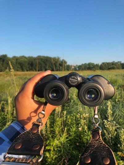 binoculars overlooking the grasslands