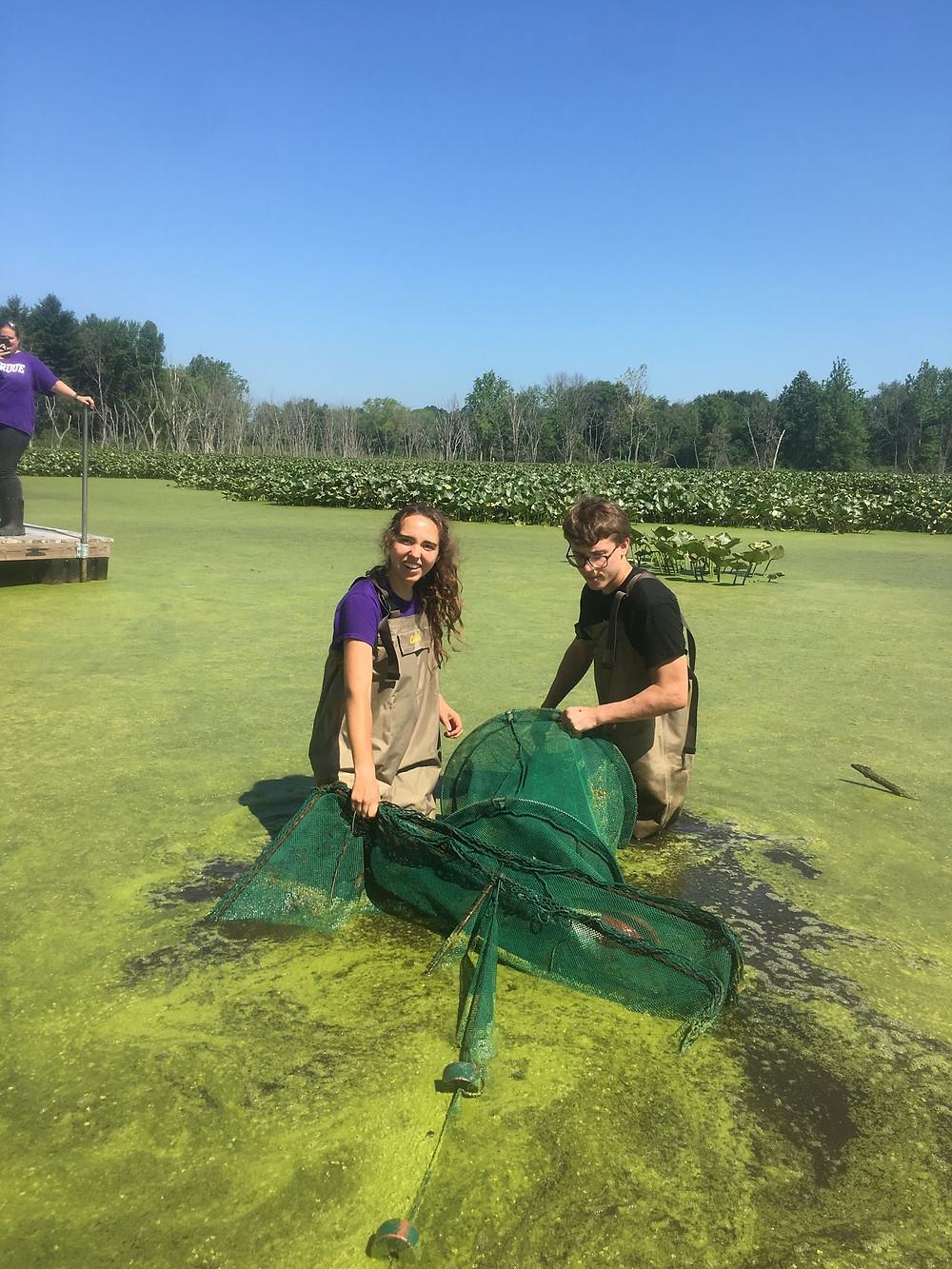 Jenny and Reece pulling in a fyke net