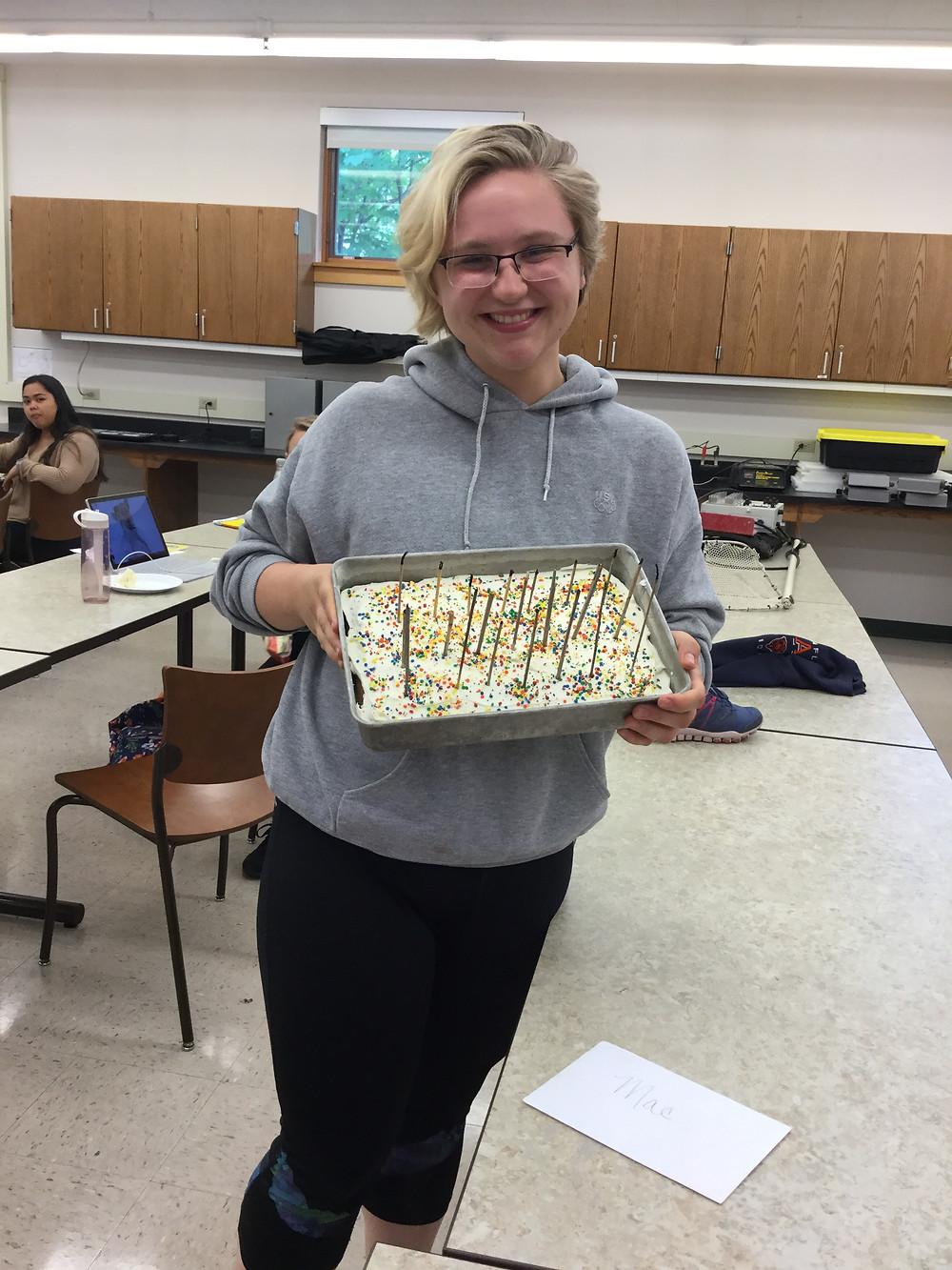 Mae with a funfetti cake