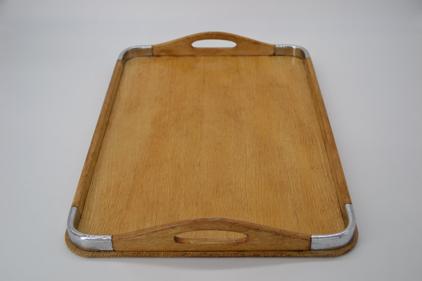 Silver Corner Wooden Serving Tray