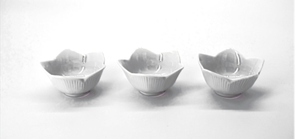 Set Of Three Lotus Bowls