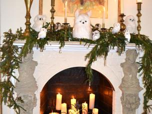 Winter Fireplace Mantel Decor