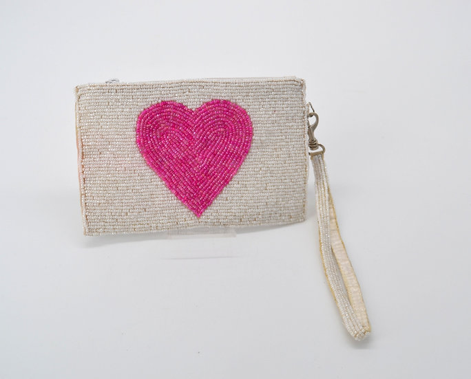 Hand Beaded Heart Motif Wristlet Handbag