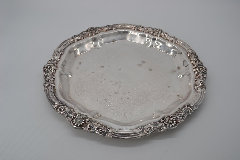 Round Silver Serving Tray