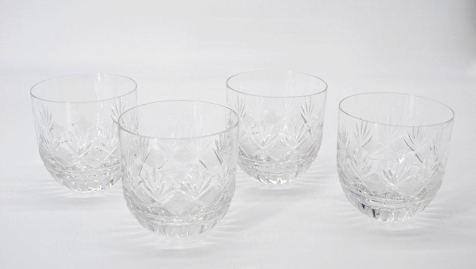 Set Of 4 Round Bottom Crystal Glasses