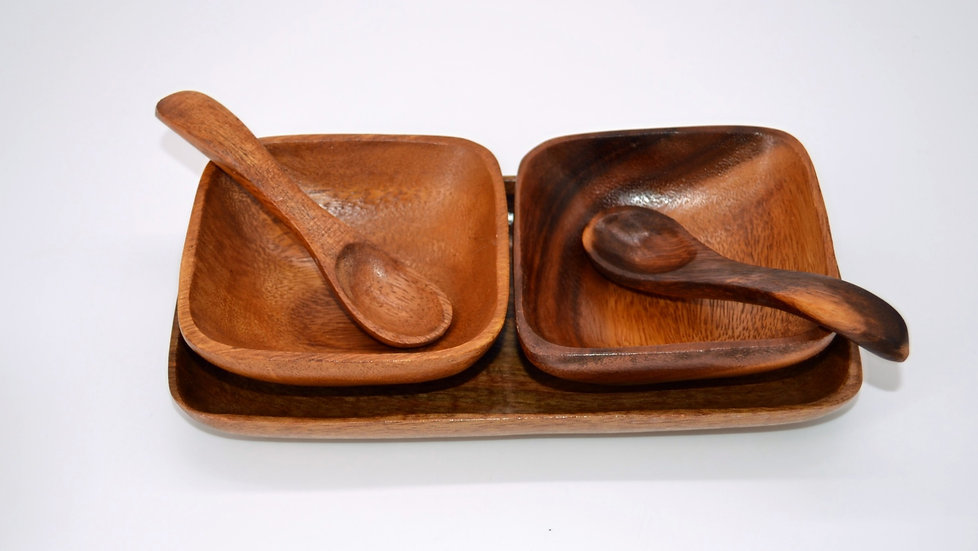 Teak Serving Bowls on Tray with Spoons