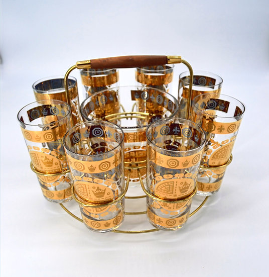 Vito Bari Signed Vintage Bar Ware,8 Glasses, Metal Caddy and Ice Bucket