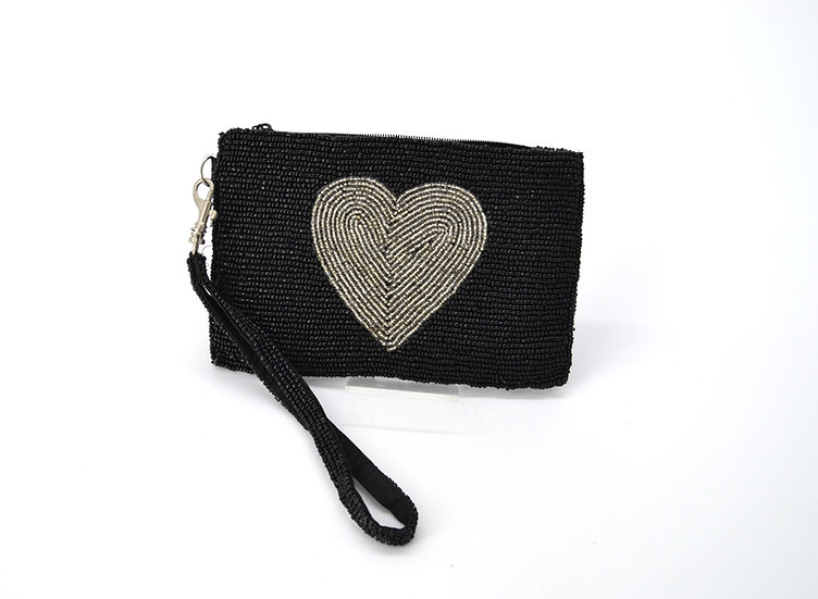 Hand Beaded Heart Motif Wristlet Handbag