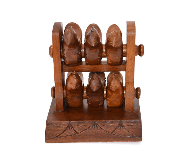 Roosting Wood Chickens Napkin Rings With Holder