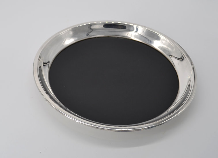 Round Black Formica And Silver Tray