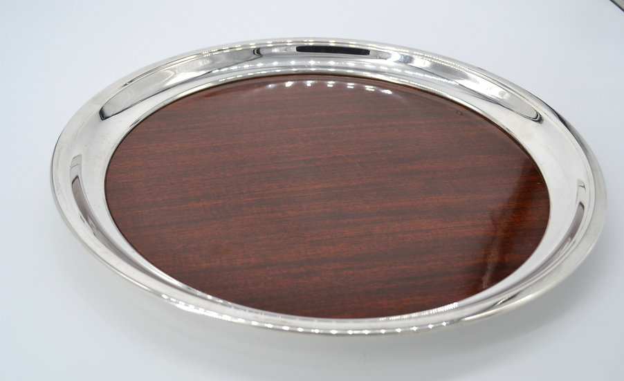 Round Formica Tray With Silver Rim