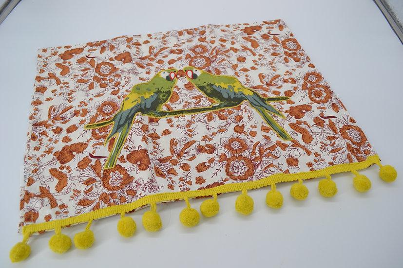 Parrot Pom Pom Tea Towel