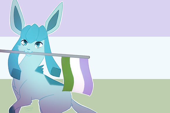 Glaceon, Genderqueer Flag (A6)