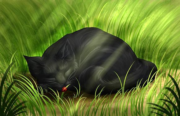 Black Cat and Ladybug (A3)