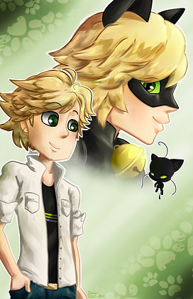 Miraculous Ladybug, Adrien Argeste and Chat Noir (A3)