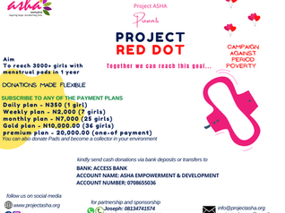 TRAMPLE PERIOD POVERTY: Project Asha Launches The 'Project Red Dot' Campaign