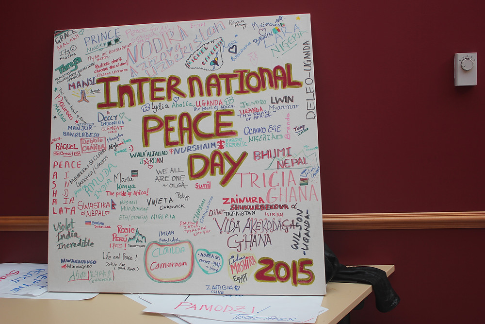 A banner put up at the Coady International Institute for everyone to sign