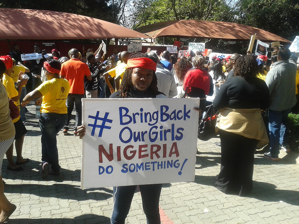 Protesting the abduction of the #Chibokgirls in Jo'burg, South Africa