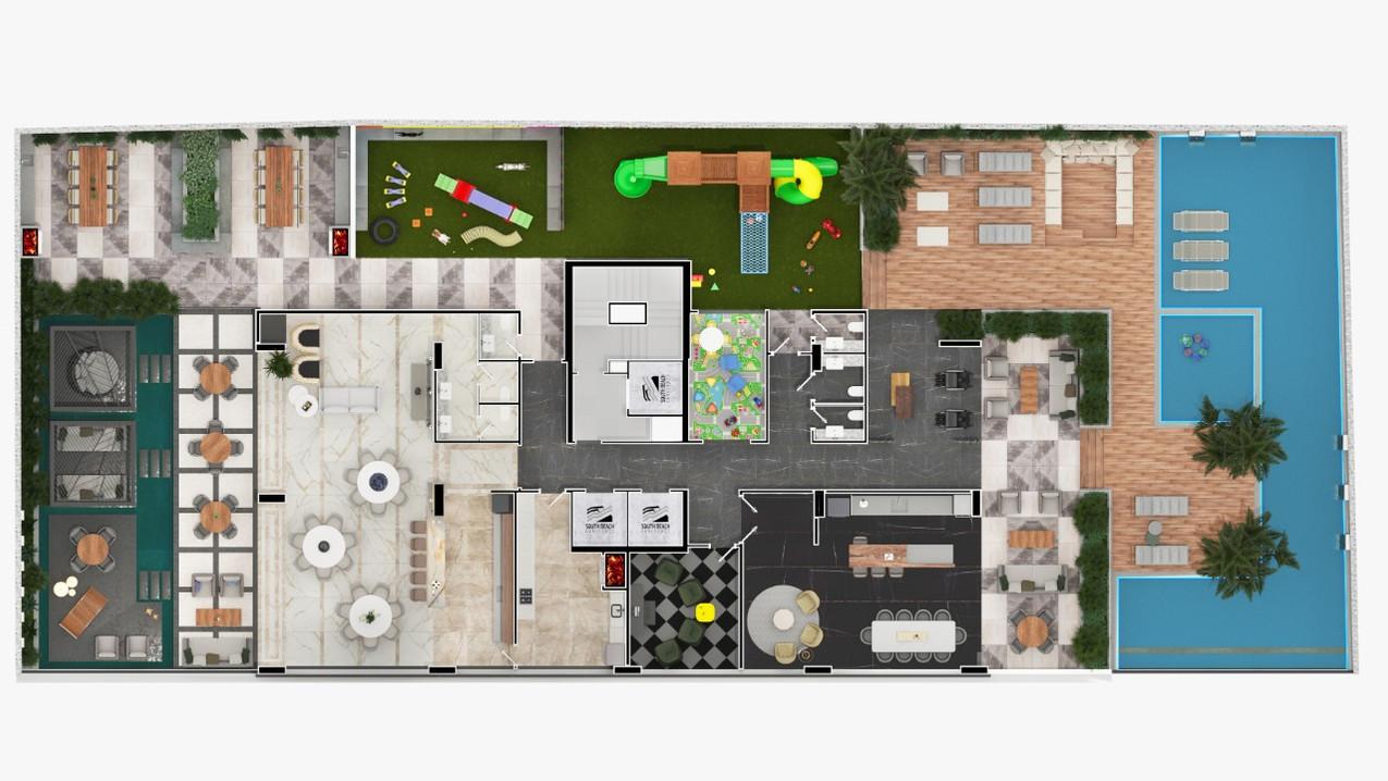 ÁREA DE LAZER COM 1.150 m²
