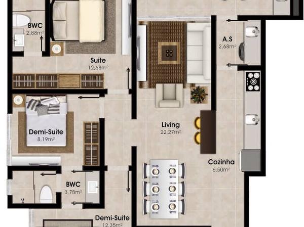 Planta Apartamento - Tipo 1 e 2