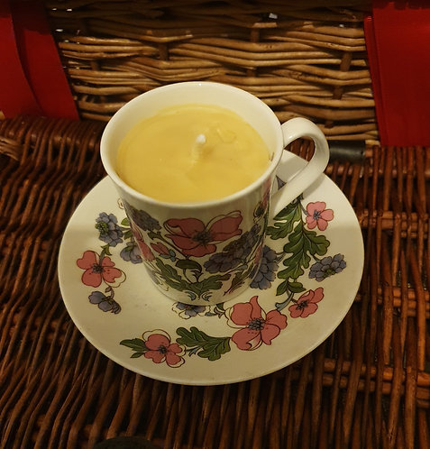 Candle in pansy teacup, citrus scent