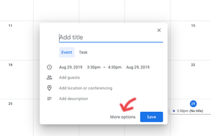 Step two: Access the appointment options in Google Calendar.