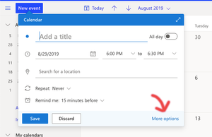 Step two: Viewing the appointment creation options with Outlook Calendar.