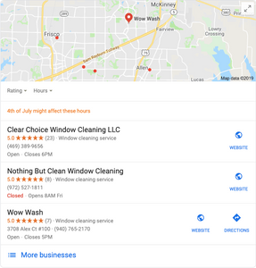 Image of window cleaning websites in Google's search results.