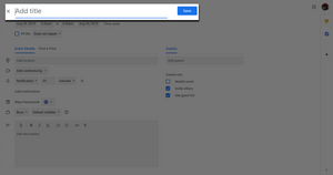 Step three: Adding an appointment title in Google Calendar.