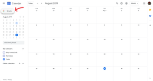 First step when scheduling an appointment in Google Calendar.