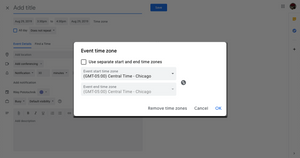 Step five: Adding an appointment time zone in Google Calendar.