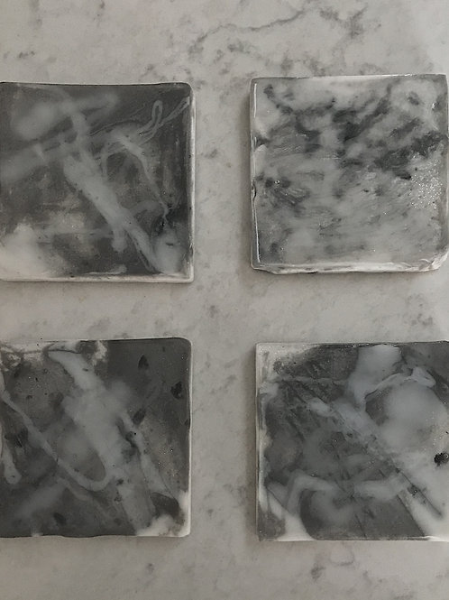 Gray and White Resin Coasters (set of 4)