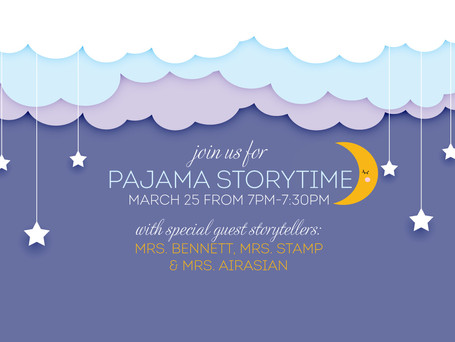 🌙 Franklin's first ever Pajama Storytime is next Thursday, March 25th at 7:00pm!