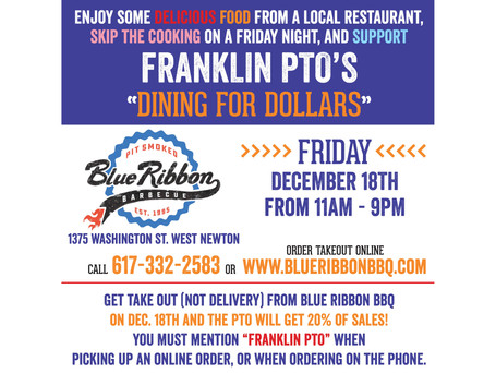 """Dining for Dollars"" at Blue Ribbon BBQ on Friday, December 18th!!"