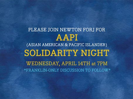 Tomorrow's Franklin FORJ event - AAPI Solidarity Night on Wednesday, April 14th!